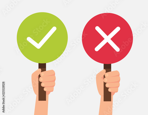 Hand hold signboard green check mark and red X mark Right and Wrong for feedback. Sign icon concept. Vector stock. Wall mural