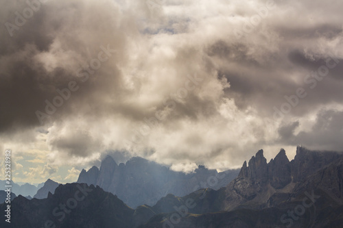 Fototapety, obrazy: Beautiful storm cloudscape in the Dolomite Alps, Italy, in summer