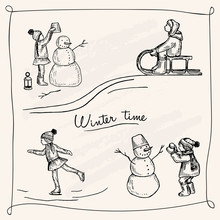Vector Illustration. Winter Pen Style Set. Children Outdoors. Snowman. Skates, Sled. Vacation Time.
