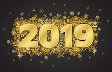 Happy New Year Card 2019 On Dark Background