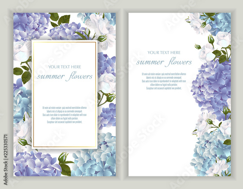 Vector banners set with roses and hydrangea flowers. Tableau sur Toile