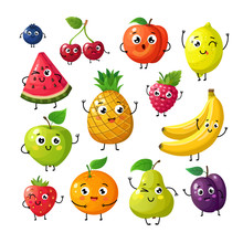 Cartoon Funny Fruits. Happy Ki...
