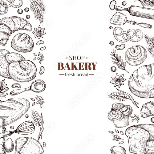 Fototapeta Bakery vector retro background with hand drawn doodle bread. Illustration bakery and bread shop, vintage drawing poster obraz