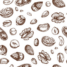 Nuts Seamless Pattern. Dried Fruit And Nut Endless Vector Texture. Illustration Of Nut Food Seamless Pattern Background