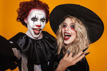 Cheerful Scary Witch And Clown...