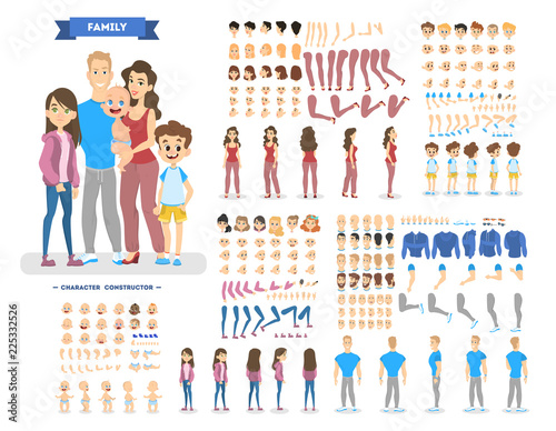 Obraz Big family character set for the animation - fototapety do salonu