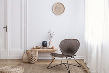 Modern Armchair And Pouf On Br...