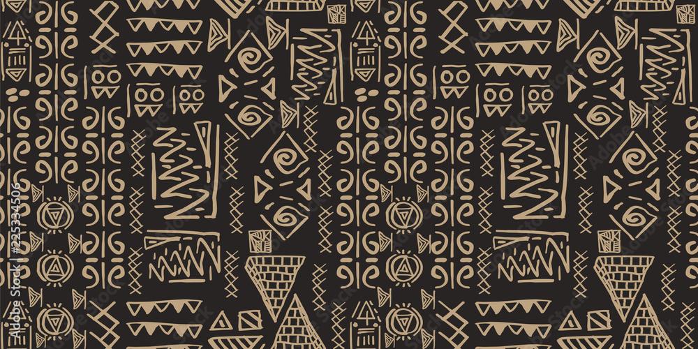 Fototapeta Tribal pattern vector. Seamless ethnic handmade with stripes vector illustration.