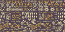 Tribal Pattern Vector With Seamless Egyptian Symbol Ancient Style. Vintage Illustration Background For Fashion Textile Print And Wrapping.