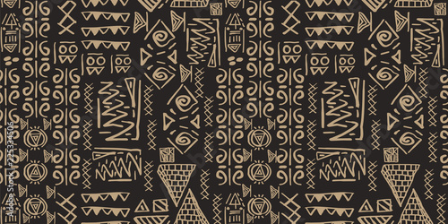 Tribal pattern vector. Seamless ethnic handmade with stripes vector illustration. - fototapety na wymiar