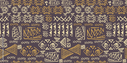 Tribal pattern vector with seamless egyptian symbol ancient style Canvas Print