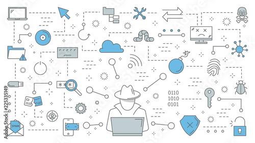 Cuadros en Lienzo Hacker concept. Cyber spy steal digital data