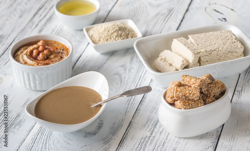 Assortment of sesame seed food