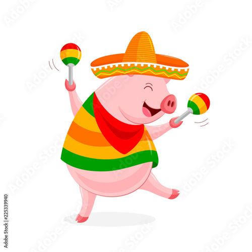 funny cartoon pig characters with mexican costume and maracas
