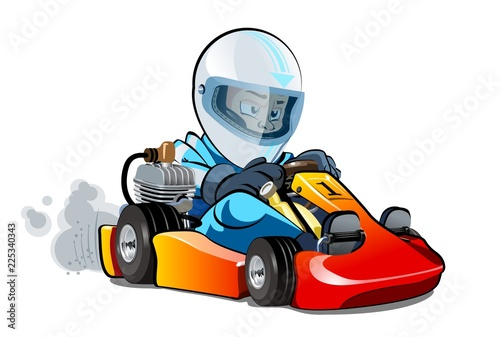 Cuadros en Lienzo Cartoon kart racer isolated on white background