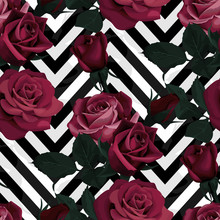 Deep Red Roses Vector Seamless...