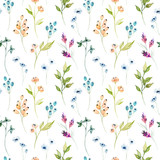 Fototapeta Do przedpokoju - Watercolor floral hand drawn colorful bright seamless pattern