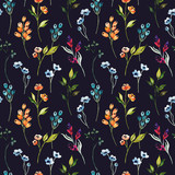 Fototapeta  - Watercolor floral hand drawn colorful bright seamless pattern