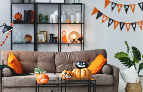 Fotografie, Tablou  interior of the house decorated with holiday of a halloween