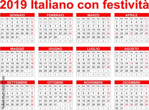 Calendario Con Festivita 2019.Calendario Italiano Calendario 2020