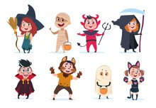 Halloween Kids. Cartoon Children In Halloween Costumes. Funny Girls And Boys At Party Vector Isolated Charactres. Illustration Of Girl And Boy Costume Monster, Dracula And Mummy
