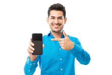 Smiling Male Showing Off His New Mobile Phone