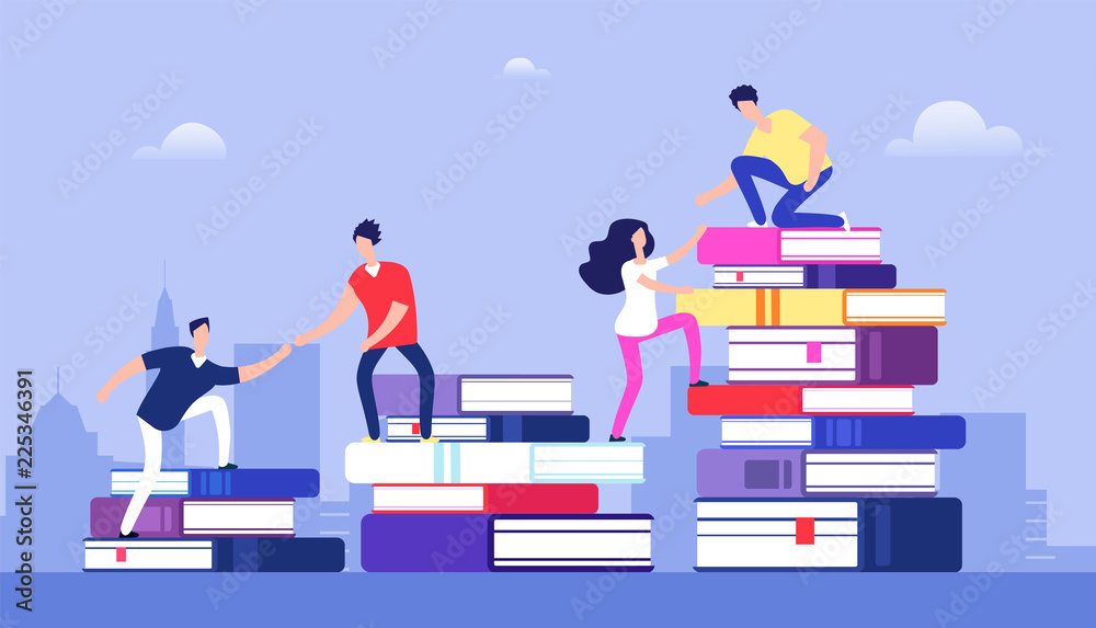 Fototapeta People climbing books. Business success, education level and staff and skill development vector concept. School study people, success student learn books illustration