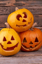 Three Funny Halloween Pumpkins...