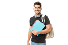 Smiling Young College Student With Books And Backpack