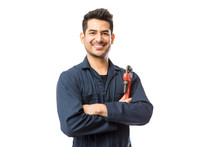 Smiling Male Plumber With Pipe Wrench Standing Arms Crossed