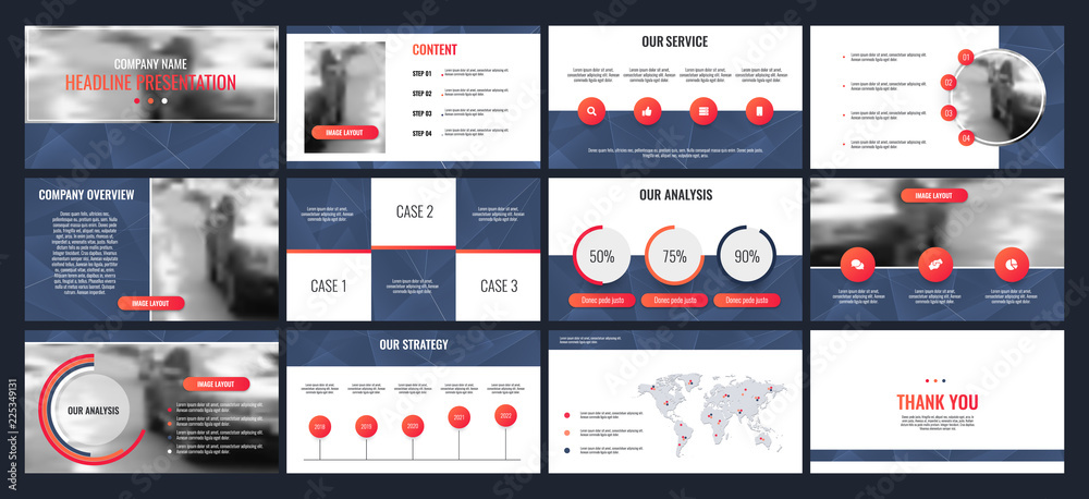 Fototapeta Business presentation templates from infographic elements.