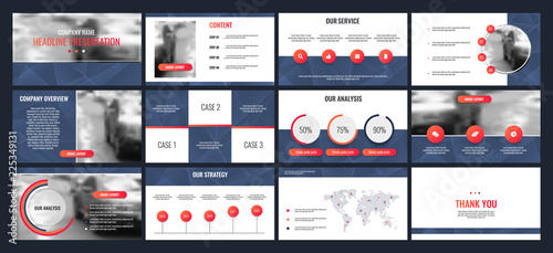 Fotografie, Tablou Business presentation templates from infographic elements.