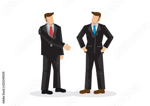 Business man offering hand shake while another is ignoring