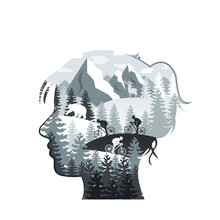 Vector Woman Head With Forest, Mountains, Animals