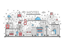 Vector Thin Line Art Hotel Poster Banner Template