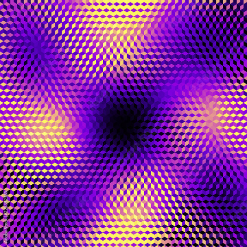 Spoed Foto op Canvas Psychedelic Blurred background. Geometric abstract pattern in low poly style. Effect of a glass. Small cubes. Vector image.