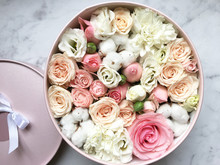 Flowers In A Box Roses And Col...