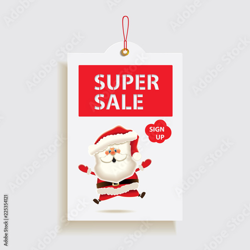 graphic relating to Santa Claus Printable called Xmas and Fresh new Yr cartoon sale tag with Santa Claus