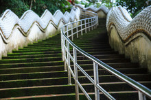 Safety Handrail Help Climbing Up Two Naga Guardians Stairway Uphill To Wat Phra That Doi Tung Temple, Chiang Rai, Thailand. Thai Travel Traditional And Cultural Thai Tourism, Tourist Destination.
