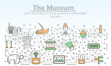 Vector Thin Line Art Museum Poster Banner Template