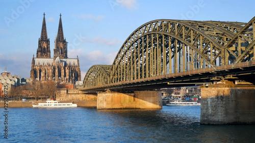 Cologne Cathedral and Hohenzollern Bridge, Koln at a bright summer day