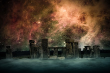 Ancient Places Backgrounds - Temple Ruins Under Night Sky