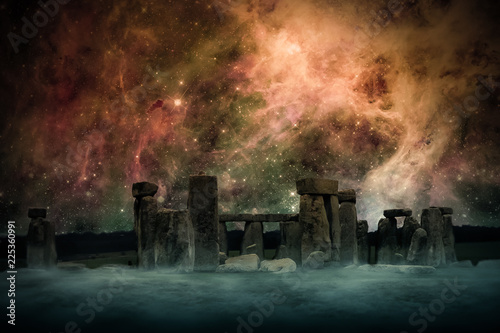 Foto Ancient Places Backgrounds - Temple Ruins under Night Sky