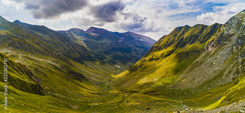 Foto op Plexiglas Bergen Landscape with rocky mountain peaks in summertime