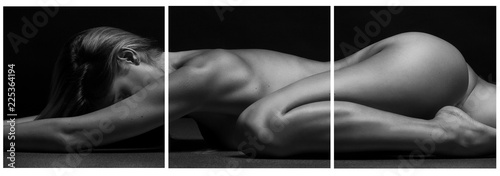 Beautiful female body part on black background. - 225364194