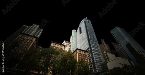 Spoed Foto op Canvas Stad gebouw Downtown Los Angeles isolated on black