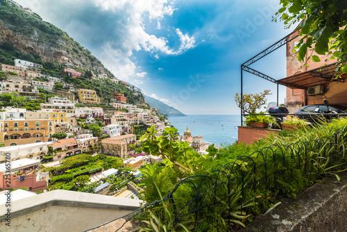 Colorful landscape of Positano shoreline
