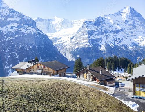 Plakat Hotele na górskich Alpach, pierwszy szczyt Grindelwald Szwajcaria Europa