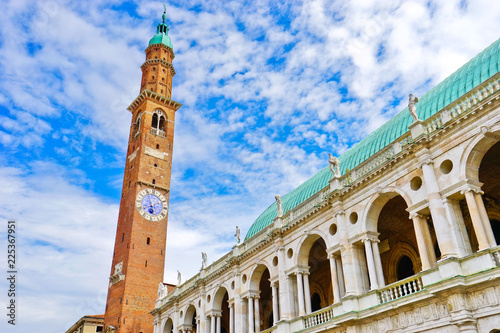 The Basilica Palladiana with clock tower is a Renaissance building in the central Piazza dei Signori in Vicenza, Italy. © Javen