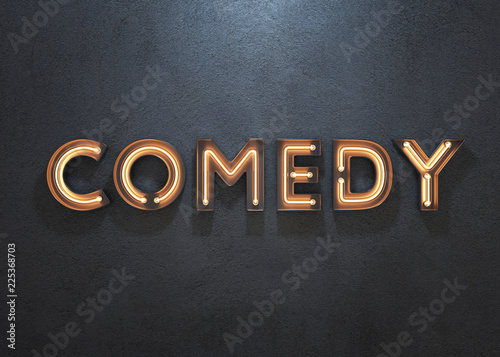 Fotografie, Obraz  Comedy neon sign on dark background.